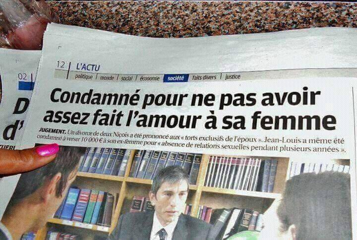 CONDAMNE PAR MANQUE D'AMOUR